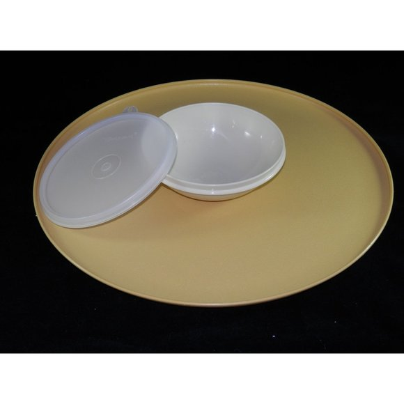 Tupperware Other - Vintage Tupperware Dip N Serve Tray with Bowl Gold